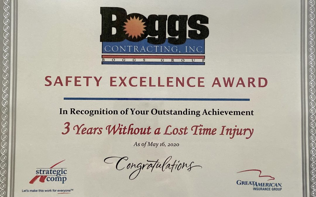 Boggs Contracting, Inc. Wins the Safety Excellence Award